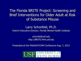 Larry Schonfeld, Ph.D . Interim Executive Director, Florida Mental Health Institute