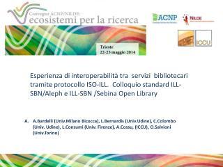 singole biblioteche sistemi bibliotecari  territoriali sistemi bibliotecari di ateneo