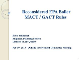 Reconsidered EPA Boiler  MACT / GACT Rules