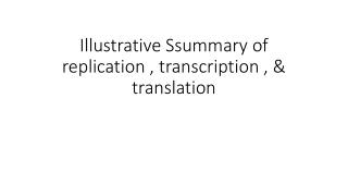Illustrative  Ssummary  of replication , transcription , & translation