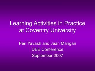 Learning Activities in Practice at Coventry University