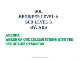 sql BEGINEER Level-4 Sub-level-3 by:  ars