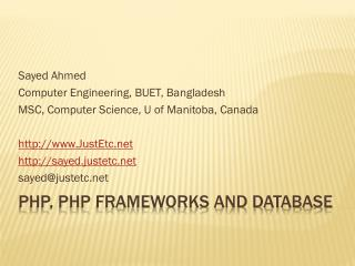 PHP, PHP Frameworks and Database