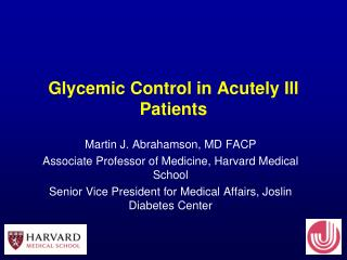 Glycemic Control in Acutely Ill Patients