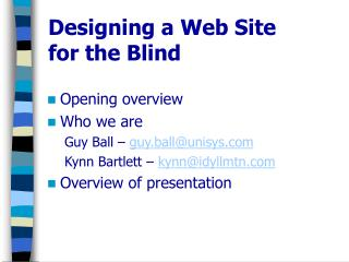 Designing a Web Site for the Blind