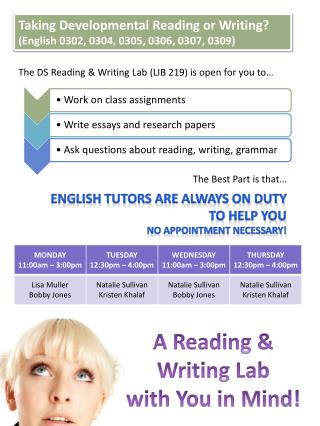 A  Reading & Writing  Lab  with You in Mind!