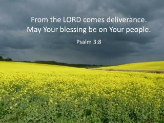 From the LORD comes deliverance. May Your blessing be on Your people. Psalm 3:8