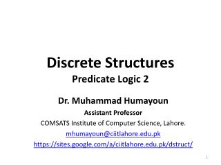 Discrete Structures Predicate Logic  2