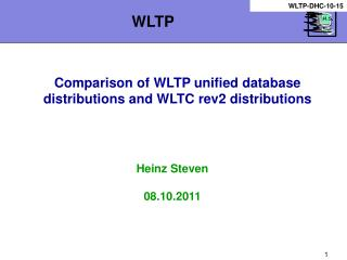 Comparison of WLTP unified database distributions and WLTC rev2 distributions