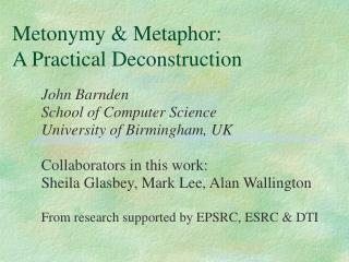 Metonymy & Metaphor: A Practical Deconstruction