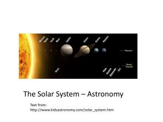 The Solar System – Astronomy