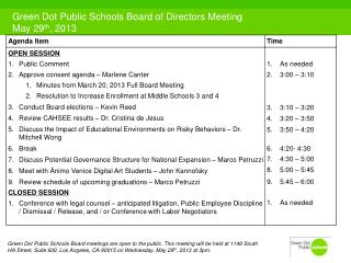 Green Dot Public Schools Board of  Directors Meeting May 29 th , 2013