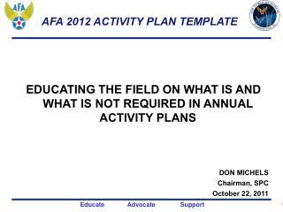 AFA 2012 ACTIVITY PLAN TEMPLATE