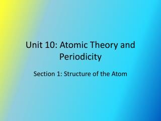 Unit 10: Atomic Theory and Periodicity