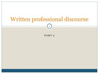 Written professional discourse
