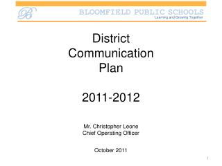 District  Communication  Plan 2011-2012