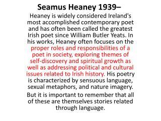 Seamus Heaney 1939�