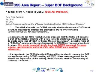 CSS Area Report -- Super  BOF Background