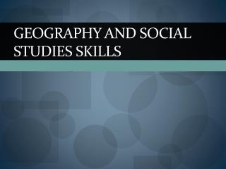 Geography and Social Studies Skills
