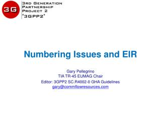 Numbering Issues and EIR