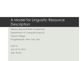 A Model for Linguistic Resource Description