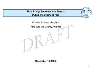 Nice Bridge Improvement Project Public Involvement Plan