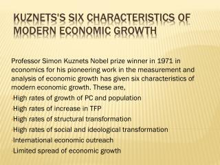 Kuznets's six characteristics of modern economic growth