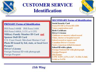 CUSTOMER SERVICE Identification