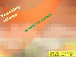 Teaching idioms