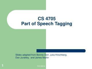 CS 4705 Part of Speech Tagging