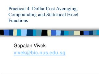 Practical 4: Dollar Cost Averaging