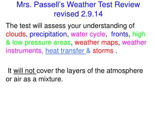 Mrs.  Passell's  Weather Test  Review revised 2.9.14