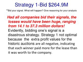 Strategy 1-Bid $264.9M - Bid your signal. What will happen? Give reasoning for your analysis