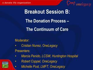Moderator: Cristian Nunez, OneLegacy  Presenters: Marcia  Penido , LCSW, Huntington Hospital