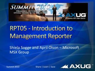 RPT05 - Introduction  to Management Reporter