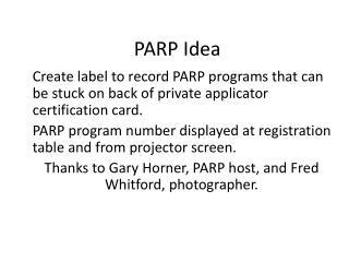 PARP Idea