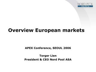 Overview European markets