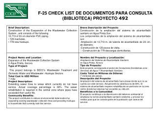 F-25 CHECK LIST DE DOCUMENTOS PARA CONSULTA  (BIBLIOTECA) PROYECTO  492