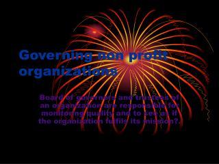 Governing non profit organizations