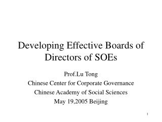 Developing Effective Boards of Directors of SOEs