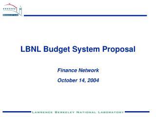 LBNL Budget System Proposal