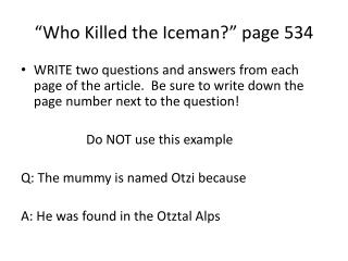 """""""Who Killed the Iceman?"""" page 534"""