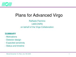 Plans for Advanced Virgo