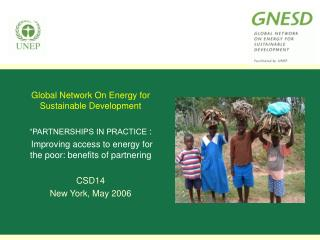 """Global Network On Energy for Sustainable Development """"PARTNERSHIPS IN PRACTICE  :"""