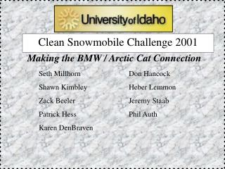 Clean Snowmobile Challenge 2001