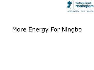More Energy For Ningbo