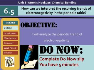 Objective: I will  analyze the periodic trend of electronegativity.