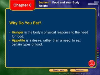 Section 1   Food and Your Body Weight