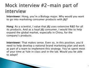 Mock interview  # 2-main part of interview