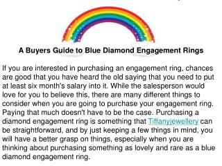 A Buyers Guide to Blue Diamond Engagement Rings